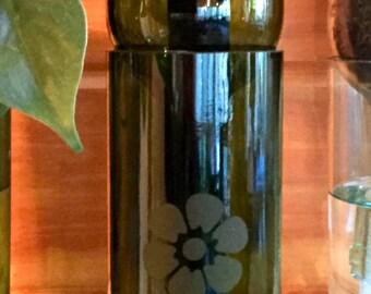 Wine Bottle Planter-Green Glass