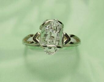 Herkimer Diamond Ring, Herkimer Diamond Natural Rough Crystal Sterling Silver Ring