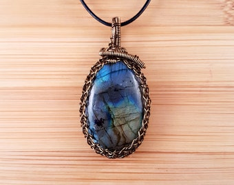 Bronze wire wrapped blue gold labradorite pendant necklace