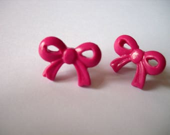 """flea"" knot earrings polymer clay raspberry"
