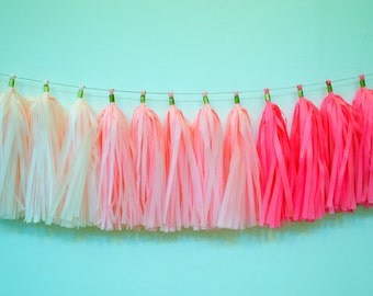 Pink Ombre Tassel Garland - Bridal Shower Decor - Baby Girl  Tassel Garland - Girl Nursery Decoration - Pink Ombre Garland