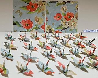 "Lot of 100pcs 1.5"" Floral Design Hand-folded Origami Paper Cranes. (JD Paper Series) #FC15-84e."