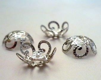 Lot 30 bead caps / bead caps - silver