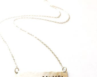 Namaste - Rustic Hand Stamped Silver Aluminum Bar Necklace