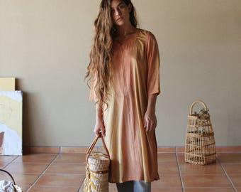 Vintage Bohemian Indian Silk Tunic   Hippie Earth Tone Long Sleeve Silk Tunic Dress
