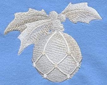 Christmas  Towel  - Ornament Towel - Holly Towel -  Embroidered Towel - Flour Sack Towel - Hand Towel - Bath Towel - Fingertip - Apron