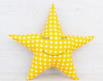 FREE SHIPPING Star Pillow, Stuffed star, Pillow, Nursery Decor, Soft Toy, Plush Toy, Kids Room Decor, Star Cushion, Decorative Pillow