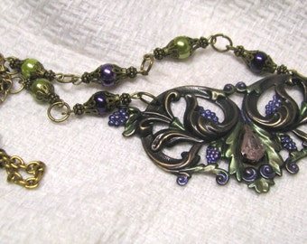 Art Nouveau Vintage Inspired Grapes and Vine Hand Painted Aged Brass Necklace, Purple and Green Faux Pearls Vineyard, Wine Lovers