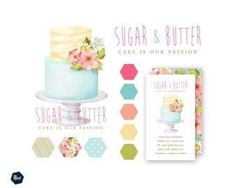 Cake logo personalised logo customized business branding cake logo business branding wedding cake logo business card design graphic design reheart Choice Image