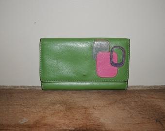 Vintage 80s Wallet Leather Wallet Green Pink Purple Geometric Shapes Wallet Change Purse Bill Fold Retro Green Wallet