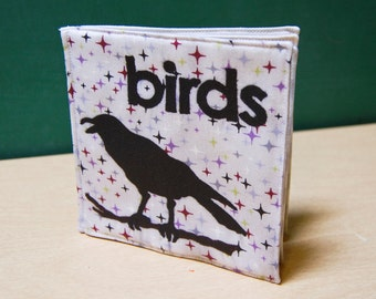 Birds Cloth Book, printed on organic cotton