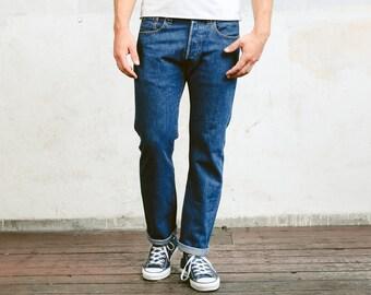Vintage Levis 501 Pants . Mens Jeans Dark Wash Blue Denim Pants Dad Jeans Casual Trousers . size W31 L30
