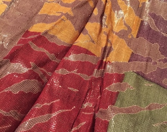 Lux Metallic Leaf Print Vintage LAURA GERALDI Long Disco Scarf India