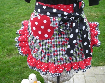Womens Aprons - Waist Cherry Fabric Aprons -  Aprons with Cherry Fabrics - Annies Attic Aprons - Hostess Aprons - Hostess Gifts - Red Aprons