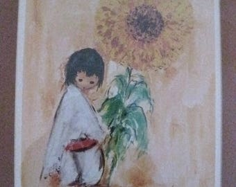 Ted DeGrazia Indian Boy with Sunflower Matted Framed Southwest Picture #ER