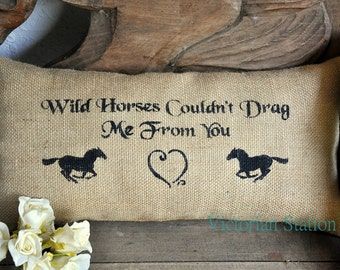 Burlap pillow with horses,western,shabby chic