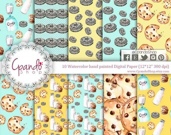 Milk and Cookies Digital Paper, Oreos, watercolor, Polkadots, Milk and Cookie Party, for Birthday party, babyshower watercolor cookies