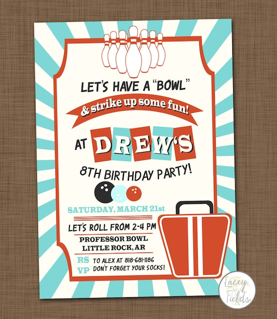 Items Similar To Bowling Birthday Party Invitation Printable Bowling