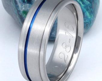 Thin Blue Line Titanium Band - Blue Handcrafted Titanium Ring - b7