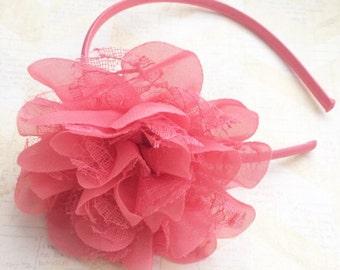 Hard coral satin headband,lace coral headband,plastic headband,big coral headband,girls headbands,flower girl headband