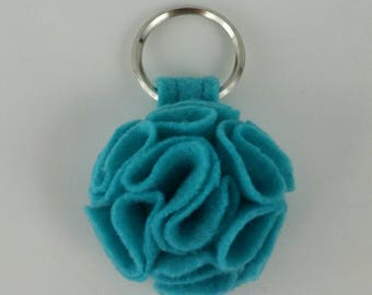 Lagoon Ruffled Felt Flower Keychain Key Chain Gift Handmade Gift Felt Flower Keyring Under 10 dollars Sweet 16 Flower Floral Key Ring
