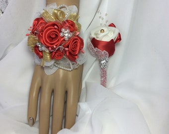 Gold and Red Flower Corsage Set-Red Prom-Corsage and Boutonniere Set-Wrist Flowers-Red Prom Formal-Wedding Flower set-Red Wedding-Gold