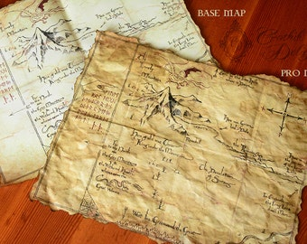 "Map replica  from ""The Hobbit"" with UV Lunar lunes. Different versions available."
