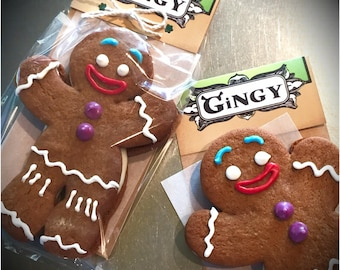 Gingy Cookies, Shrek Style Gingerbread Man with Vanilla buttercream filled Cookies, 6 Individually Wrapped Gingerbread Men