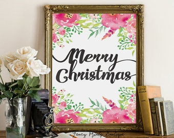 Christmas printable art, merry Christmas wall art decoration , hand lettered  printable typography print, holiday printable decor,