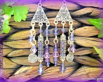 Purple Earrings; Boho Earrings; Mauve Earrings; Hippie Earrings; Bohemian Earrings; Gypsy Earrings; Chandelier Earrings; Australian Seller