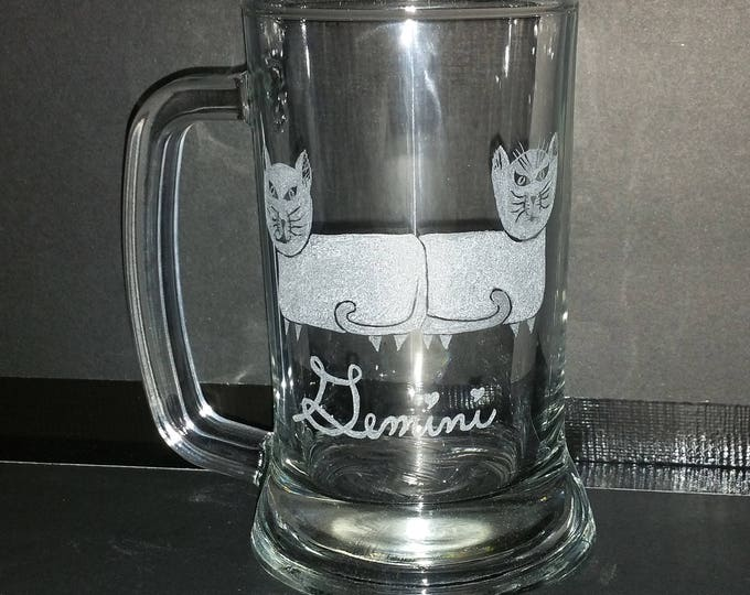 Gemini the twins from our Kitty Kat Zodiac series on a 15 oz glass mug