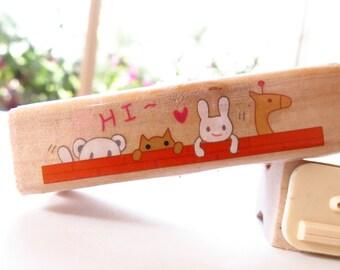 Cute DIY Vintage Long Wooden Rubber Stamp - Hi Animals