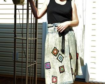 Refashioned denim skirt vintage skirt upcycled boho chic hippie patchwork  boro jeans skirt gypsy skirt hand made clothing