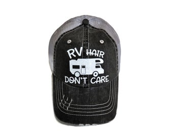 "NEW! White Glitter ""RV Hair Don't Care"" Distressed Look Grey Trucker Cap"
