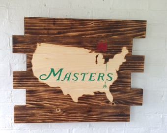 The Masters Golf Tournament wood sign- Man Cave Sign
