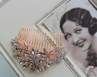 Rose Gold  Hair Comb , Vintage Style Crystal Hair Comb, Art Deco headpiece, Bridal Headpiece, Wedding Hair Comb, Bridal Hair Comb