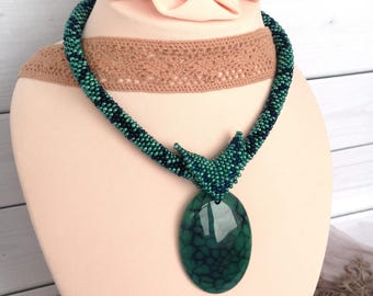 Emerald Green necklace Emerald Blue Agate necklace Beadwork jewelry Necklace with removable pendant
