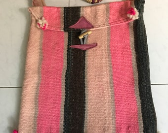 Crossbody Shoulder Bag - Handmade in Morocco - 100% Wool - Browns Pinks Greys - Boho Chic - 14' x 13""