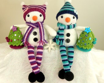 Mr & Mrs Snow with Christmas Tree Gift Bag - Amigurumi Crochet Pattern