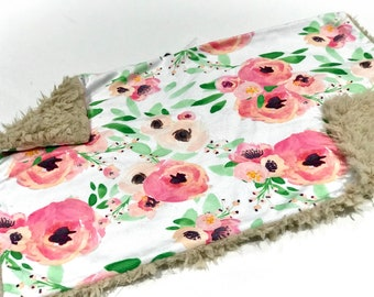 Pink and Green Spring Floral Baby Blanket Lovey, Baby Girl Minky Lovey, Indy Bloom Floral Baby Blanket, Ready to Ship, Faux Fur Baby Blanket