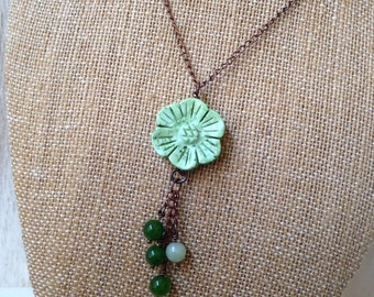 Rustic Woodland Green Necklace Dainty Flower Copper Necklace Bohemian Jewelry Stone San Diego California USA Handcrafted Artisan