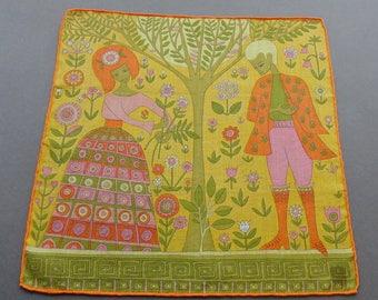 Courtly Love II- Vintage Swiss Stoffels Cotton Hankie Handkerchief