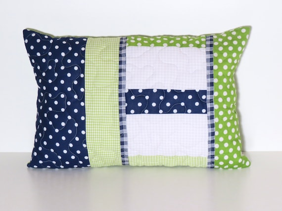 Pillow Cover,Patchwork Pillow Cover,  Baby Boy Nursery Decor, Crib Bedding, 12 x 16 Inches, Navy Blue, Gray and Green
