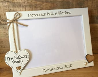 Engraved Personalised Photo frame , holiday memories