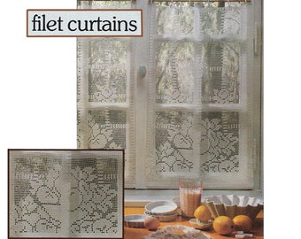 Pdf of vintage filet crochet pattern carriage robebedspread pdf of vintage filet crochet curtain pattern kitchen curtains each finished panel is 20 wide by 31 12 long dt1010fo