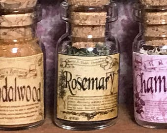 "Jar of ROSEMARY for a dollhouse, witch's herbs and poisons, dollhouse size, in a glass jar 1:12 1/12 1"", under 1"" tall, (simulated)"