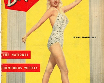 Blighty Magazine 1957  The National Humorous Weekly  Jayne Mansfield on Cover in Sexy One-Piece Swimsuit  Other Beauties, Cartoons more