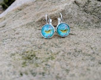 Blue bird dangle silver plated earrings