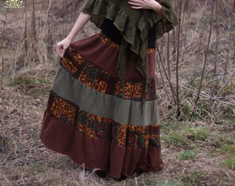 Brown, Green and Indian Patterned Handmade Gypsy Cotton Maxi Skirt
