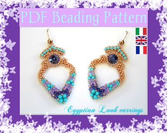 DIY Photo Tutorial Egyptian Look earrings / PDF tutorial with detailed instructions and photos  / Cubic Right Angle Weave / RAW 3d